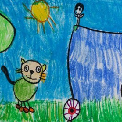 نقاشی خلاق .اثر شروین شایگان .4 ساله .سال ۶ ۹