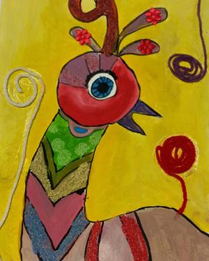 نقاشی خلاق . اثر فرناز خدمتگزار . ۱۱ساله .سال ۶ ۹