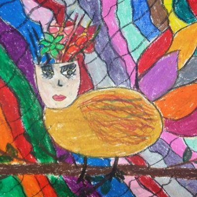 نقاشی خلاق . اثر اکیمیا پوراسد . ۹ ساله .سال ۶ ۹