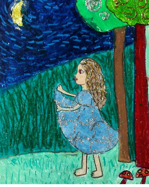 نقاشی خلاق . اثرآلینا کاظمی . ۶ ساله .سال ۶ ۹
