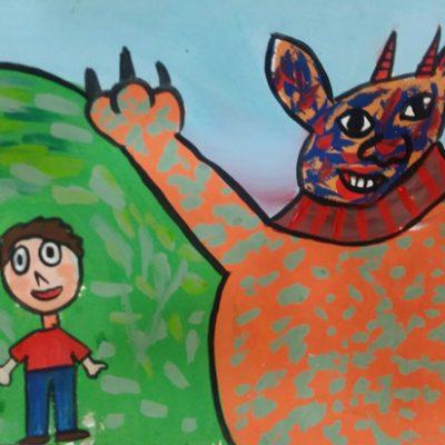 نقاشی خلاق . اثر آلینا کاظمی . ۶ ساله .سال ۶ ۹