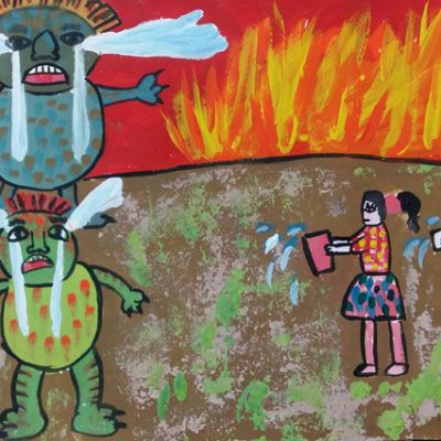 نقاشی خلاق . اثر الهه اسدی . ۹ ساله .سال ۶ ۹