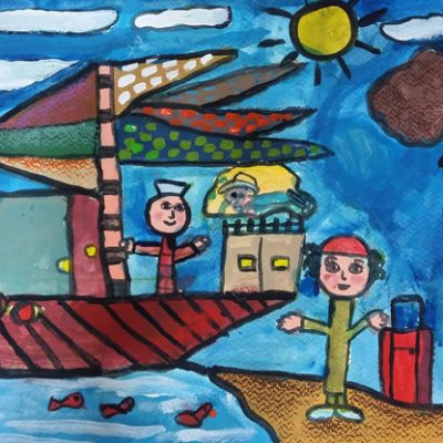 نقاشی خلاق . اثر ستایش حیدریان . ۸ ساله . سال  ۶ ۹