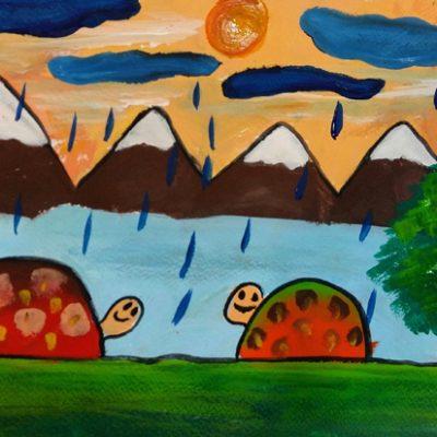 نقاشی خلاق . اثر امیرعلی بیژنگ . ۱۰ ساله .سال ۶ ۹