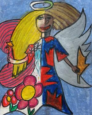 نقاشی خلاق . اثر کیمیا پوراسد . ۹ ساله .سال ۶ ۹