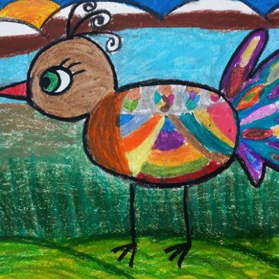 نقاشی خلاق . اثر ماهک صدفی .  ۹ ساله . سال ۶ ۹