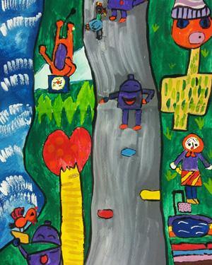 نقاشی خلاق . اثر سوگل عربانی . ۱۰ ساله .سال ۶ ۹