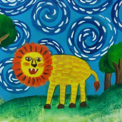 نقاشی خلاق . اثرعلیرضا رحمتی . ۹ ساله .سال ۶ ۹
