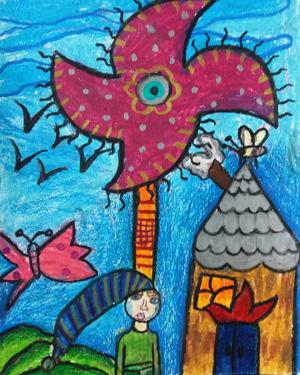 نقاشی خلاق . اثر کیمیا پوراسد . ۹ساله .سال ۶ ۹