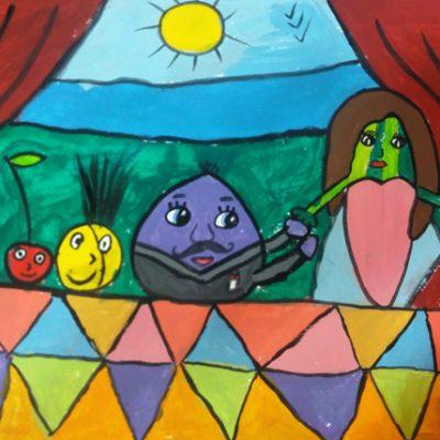 نقاشی خلاق . اثرپرنیان اعلایی . ۹ ساله .سال ۶ ۹