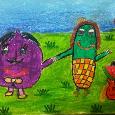 نقاشی خلاق . اثر نیلا مولاپناه . ۷ساله . سال ۶ ۹