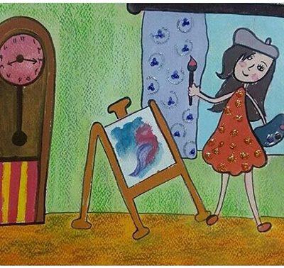 نقاشی خلاق . اثر دلارام سرپرست . ۹ ساله .سال ۶ ۹