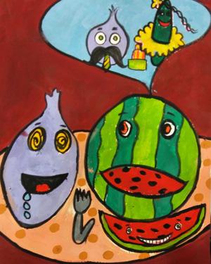 نقاشی خلاق . اثر امیرعلی تقی پور . ۹ساله .سال ۶ ۹