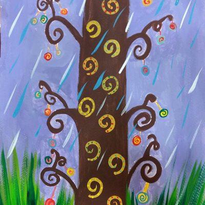 نقاشی خلاق . اثر آریانا فضلی . ۹ ساله .سال ۶ ۹