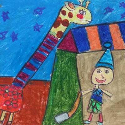 نقاشی خلاق . اثر هستی خوش سیرت . ۹ ساله .سال ۶ ۹
