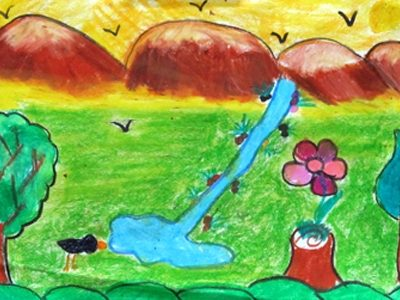 نقاشي خلاق . اثر عسل پورعليزاده . ۷ ساله . سال ۹۲