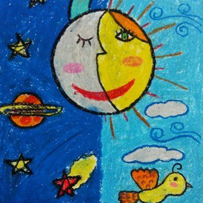 نقاشی خلاق . اثر مهرو سلیمانی . ۹ ساله .سال ۶ ۹