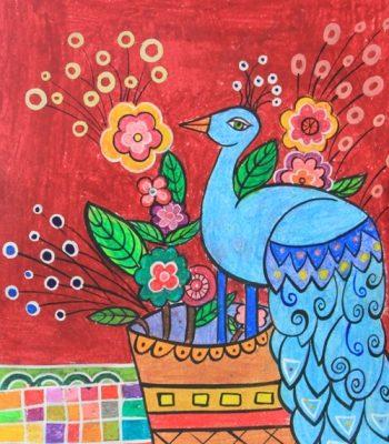 نقاشي خلاق . اثرسارینا پورنصیریان . ۹ ساله . سال ۹۴