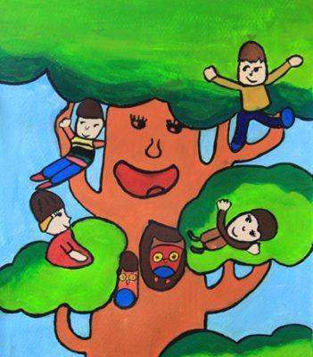 نقاشی خلاق .اثر موبینا شتابان . ۹ ساله . سال ۹۴
