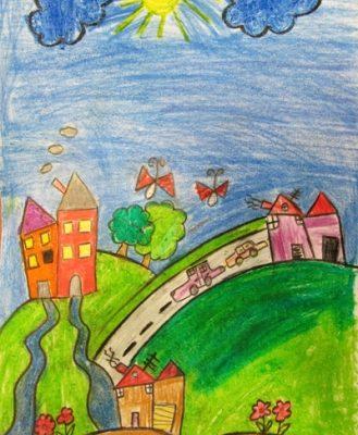نقاشی خلاق .اثر دانیال یزدانی . ۸ ساله . سال ۹۴