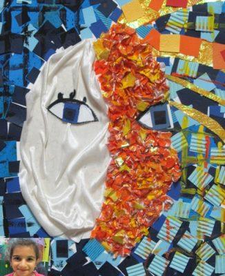 كلاژ نقاشي . اثر آوا شمس . ۹ ساله . سال ۹۲