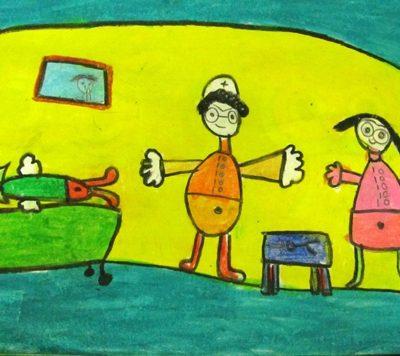 نقاشی خلاق .اثر کارن خاتمی . 5 ساله . سال ۹۴