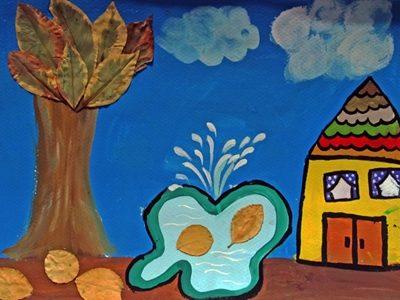 كلاژ نقاشي . اثر نيكو رخشان . 7ساله . سال93