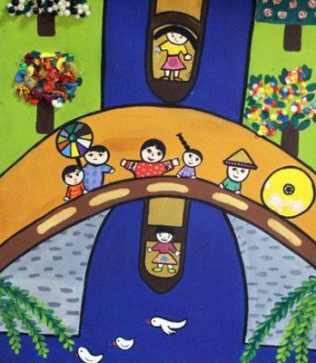 كلاژ نقاشي . اثر نیکی کریمی . ۷ ساله . سال ۹۳