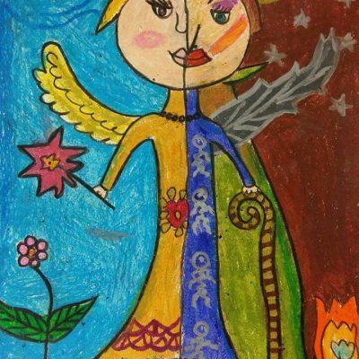 نقاشی خلاق . اثرآریانا فضلی .  ۹ساله . سال ۶ ۹