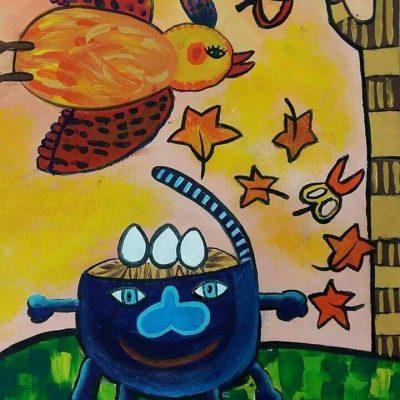نقاشی خلاق .اثر علیرضا رحمتی . ۹ساله .سال ۶ ۹